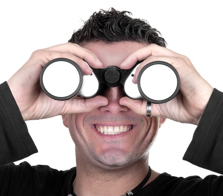 young man with binoculars on white background Stock Photo - 15147827