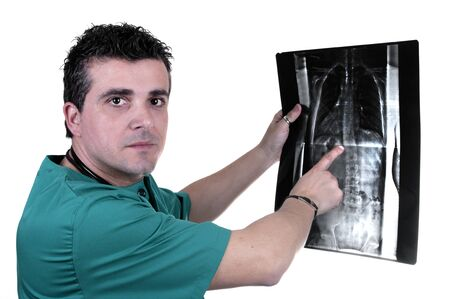 tomogram: Young doctor check x-ray on white background