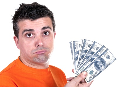 riches adult: gesture man unhappy with $ 100 bills Stock Photo