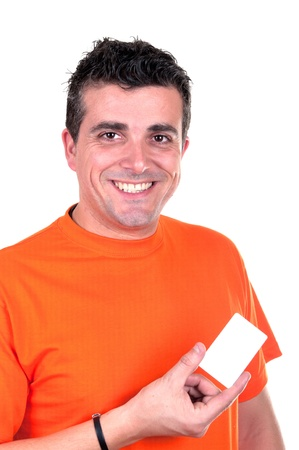 Young Man with credit card on white background photo