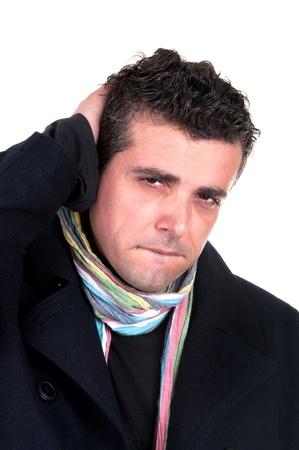 Worried man having a headache photo