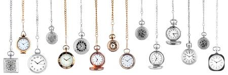 timepiece: vintage pocket watches on white background