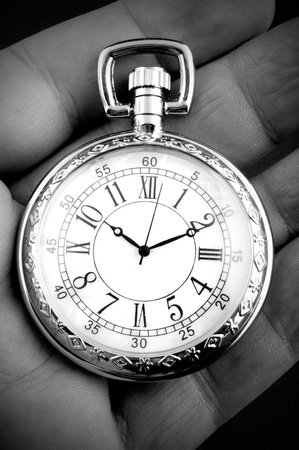 grandfather clock: Pocket watch in senior man Stock Photo