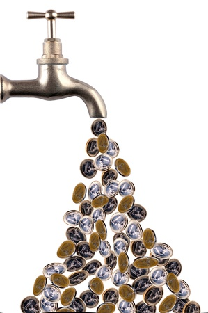 Money flowing out of a retro tap photo