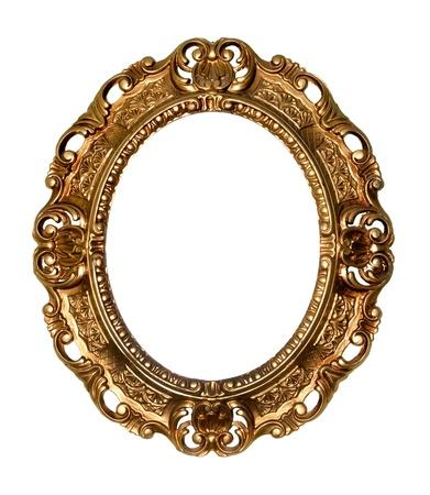 ovalo: Marco de oro Retro - Oval, en el fondo blanco
