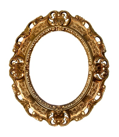 Retro gold frame - Oval , on white background photo