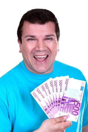 smiling man with 500€  bills on white background  Stock Photo - 15502022