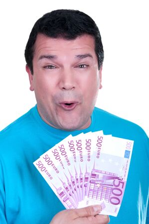 happy man with 500 euro  bills on white background Stock Photo - 15502014