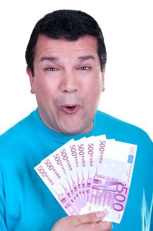 happy man with 500 euro  bills on white background Stock Photo - 15502014