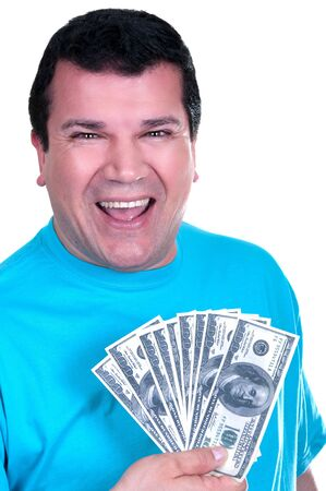smiling man with 100  bills on white background  Stock Photo - 15502031