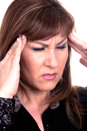 he said: woman with migraine on white background