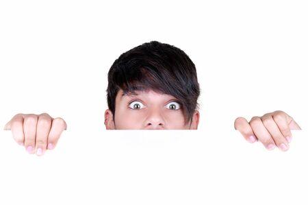 l hand: frightened teenage boy on white background