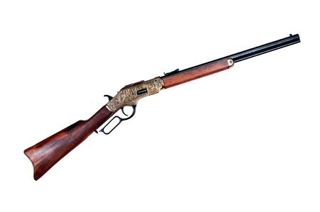 winchester: vecchio fucile winchester su sfondo bianco Archivio Fotografico