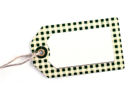 environmentalist tag: close-up of a blank price tag against pure white background