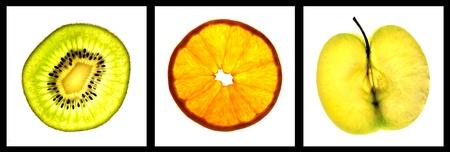 lightbox: fresh fruits sliced on a lightbox  Stock Photo