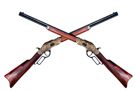 two old rifles winchester on white background  Фото со стока