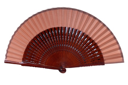 souvenir traditional: wooden hand fan isolated on white