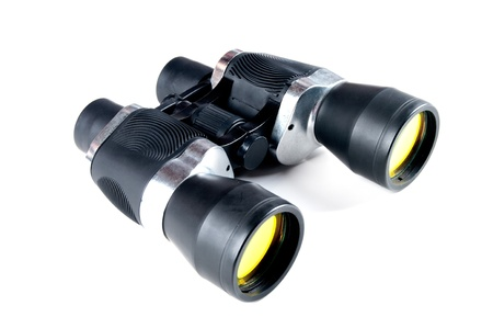 eyepiece: vintage binoculars isolated on white background  Stock Photo