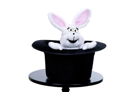 A view of a stuffed rabbit in a top hat  photo