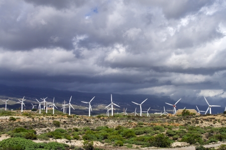 windfarm: Wind turbines generating electricity in tenerife, canary islands Stock Photo