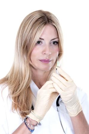 gloves nurse: beauty medical nurse with syringe on white background