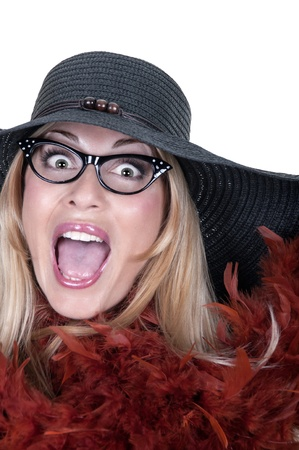 Funny girl with glasses and hat on white background Stock Photo - 15262279