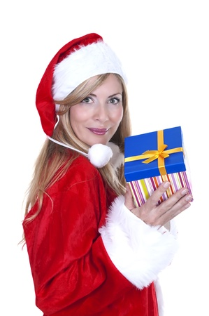 beautiful happy woman dressed as Santa and holding a present - isolated  Stock Photo - 15262253