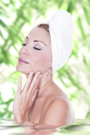 Closeup of beautiful woman in spa center  Stock Photo - 15262257