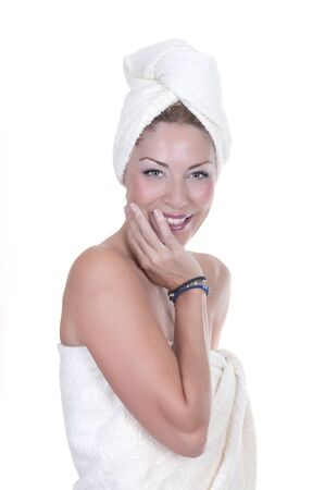 beautiful young woman wearing a towel  Stock Photo - 15262255