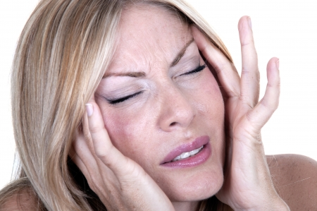 women with migraine on white background Stock Photo - 15262274