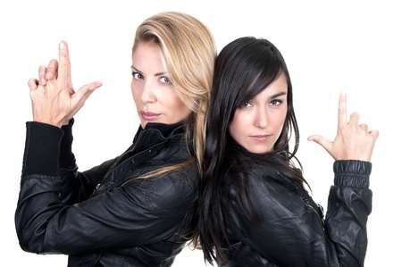 two bad girls on white background photo