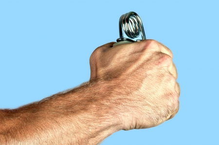 strengthen hand: Occupational Therapy - Exercising with a hand gripper.