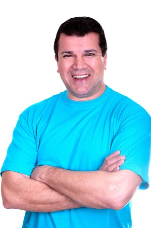 look latino: Portrait of handsome smiling man