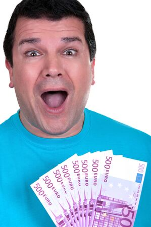 smiling man with 500€  bills on white background Stock Photo - 15619875