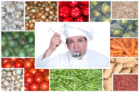 vegetable cook: A chefs surrounded by images of fruits and vegetables