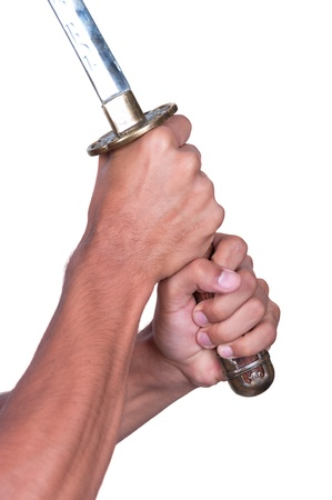 tsuka: Katana with hands. Making the cut. Isolated on white background.