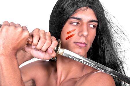 warrior with katana. on white background photo