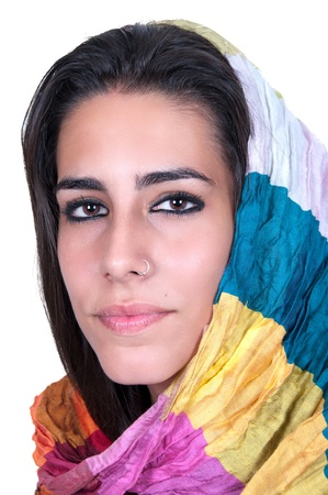 linda: beautiful young woman with her veil around her face  Stock Photo