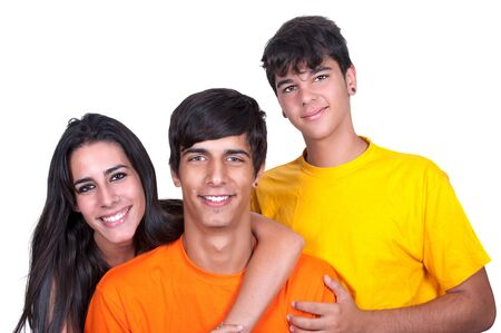 compatibility: Three friends sharing and smiling on white background.
