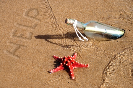 message in a bottle on beach  Stock Photo - 15619908