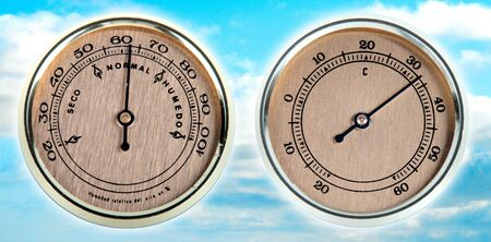 humidity: tool to measure time and temperature  Stock Photo
