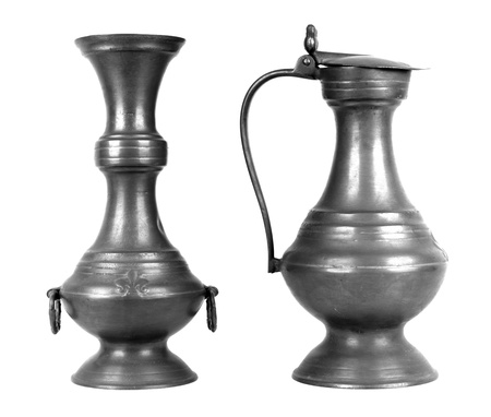 pewter: Ancients pewters stein, isolated  on white background Stock Photo