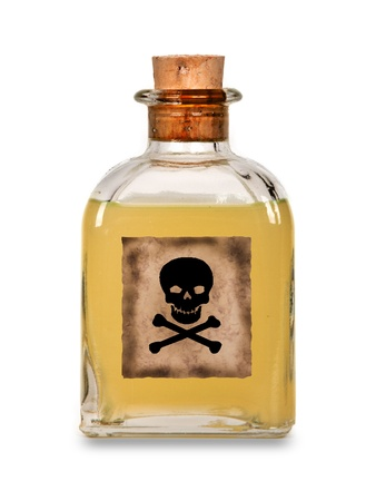 poison symbol: Glass bottle of poison on a white background
