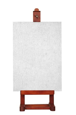 A blank canvas on a wooden easel, isolated on a white background.  photo