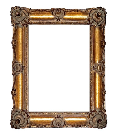 oblong: Empty golden vintage frame isolated on white background