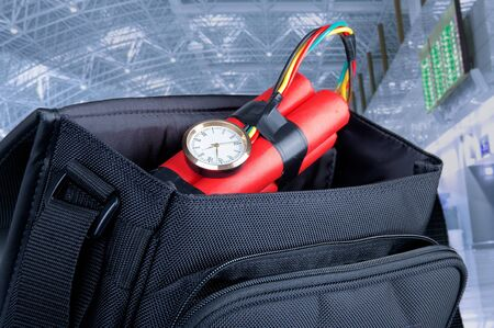 detonating: time bomb in a backpack representing terrorist attack