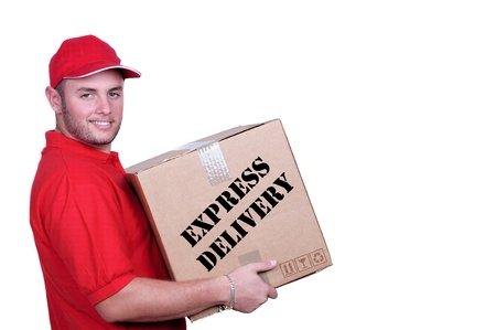 Young delivery man in red uniform holding the box on white background  photo