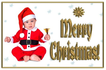 cute Christmas baby,  merry christmas golden text Stock Photo - 16790901