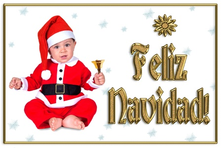 cute Christmas baby, feliz navidad golden text Stock Photo - 16790897