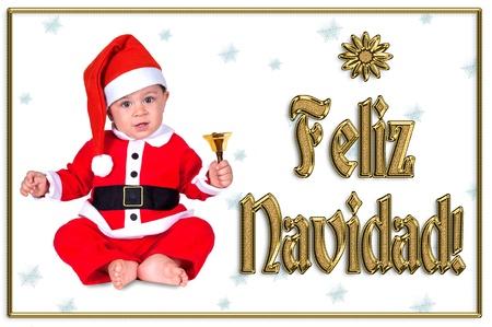 cute Christmas baby, feliz navidad golden text Stock Photo - 16790897
